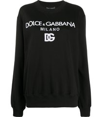 dolce & gabbana drop-shoulder long-sleeve sweatshirt - black