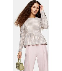 lilac check seersucker gathered sleeve blouse - lilac