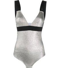 paco rabanne logo-jacquard metallic bodysuit - silver