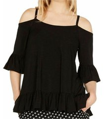 blouse ruffle cold-shoulder
