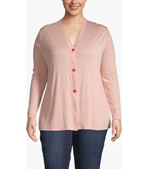 lane bryant women's striped button-front cardigan 18/20 burnt sienna and off white stripe