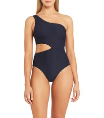 sea level one-shoulder cutout one-piece swimsuit, size 12 us in night sky at nordstrom