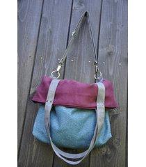 torba na ramię-color block-turkus,oberżyna,szary