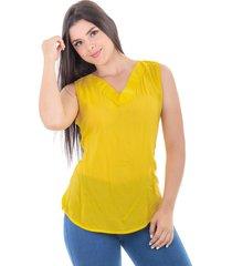 blusa en chalis mostaza s bocared lorena  2701840