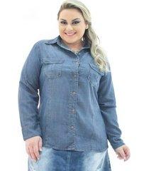1c814bd755 camisa jeans confidencial extra plus size manga longa com bolsos feminina