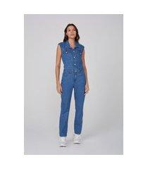 macacão jeans acinturado de algodão - azul
