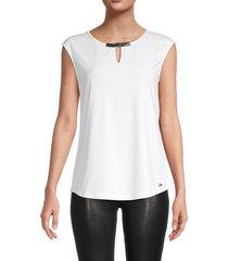 calvin klein women's sleeveless cutout top - soft white - size xs