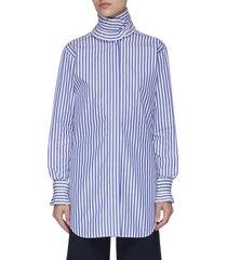 ruffle high neck stripe shirt