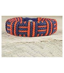 cord bracelet, 'blue and orange kente power' (ghana)