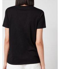 balmain women's 3 button printed logo t-shirt - black/white - l