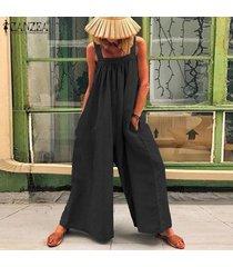 zanzea verano de las mujeres de tiras playsuit romper el traje flojo holgado llanura mono -negro