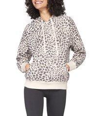 women's spiritual gangster animal print hoodie, size x-large - white