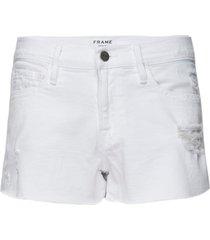 women's frame le cutoff tulip hem denim shorts, size 31 - white