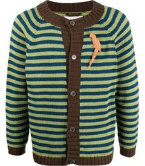 bode striped knit cardigan - green