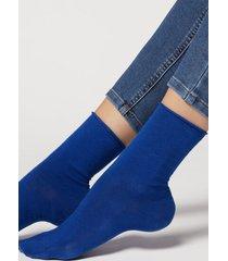 calzedonia non-elastic cotton ankle socks woman blue size 39-41