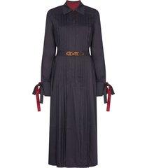evi grintela elegance belted shirt dress - blue