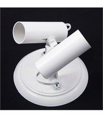 spot de sobrepor em alumínio para 2 lâmpadas tubo branco