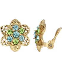 2028 gold-tone aqua and green crystals flower clip earring