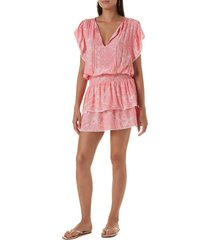 women's melissa odabash keri cover-up dress, size medium - coral