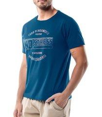 camiseta estampa logo no stress azul - kanui