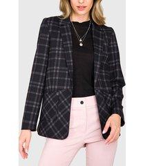 blazer  ash cuadros con bolsillos parche negro - calce regular