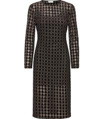jill, 1030 jersey lurex burnout jurk knielengte zwart stine goya