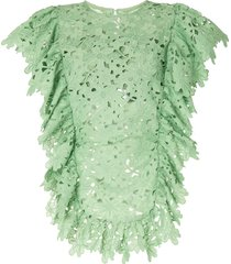 bambah lace ruffled tunic dress - green