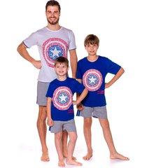 pijama infanto-juvenil evanilda  camiseta manga curta e shorts avengers capitã£o amã©rica - azul/cinza - menino - algodã£o - dafiti
