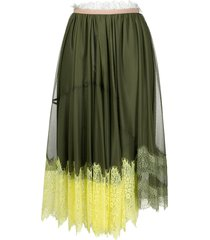 pinko lace-trimmed mesh skirt - green