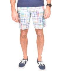 men's acid washed patch madras shorts