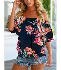 yoins blusa azul marino con hombros descubiertos y estampado floral al azar