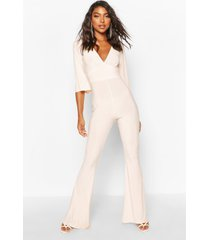 tall slinky plunge flared jumpsuit, rose