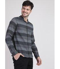 camisa de flanela masculina listrada manga longa cinza