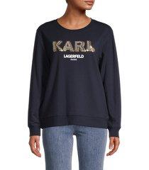 karl lagerfeld paris women's karl sparkle sweatshirt - marine gold - size xxs