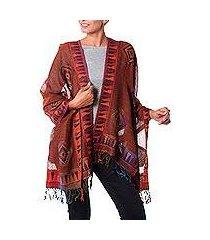 jamawar wool shawl, 'tribal earth' (india)