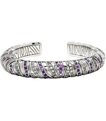 asian tiger signature sterling silver bracelet embellished by amethyst and white cubic zirconia