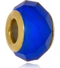 berloque boca santa semijoias cristal azul anil  ouro amarelo