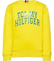 hilfiger artwork swe sweat-shirt trui geel tommy hilfiger