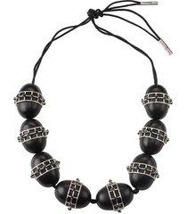 natori acacia wood with silver round cage necklace, women's