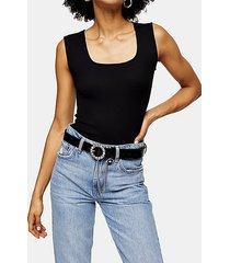 black gem buckle belt - black