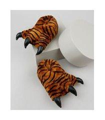 pantufa infantil palomino pata de tigre em pelúcia caramelo