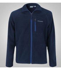 jaqueta de frio fleece columbia fast trek ii full zip - masculina - azul esc/azul