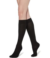 calzedonia long ribbed socks with cotton and cashmere woman black size 36-38