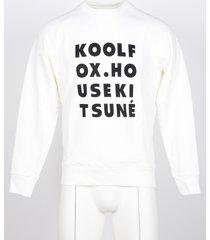 maison kitsuné designer sweatshirts, men's white sweatshirt