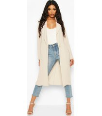 button tailored longline duster coat, stone
