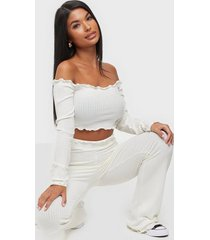 nly trend off shoulder rib set jumpsuits