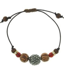 t.r.u. by 1928 adjustable leather bracelet with diamond color fireball and carnelian