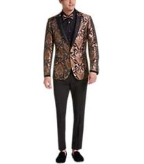 paisley & gray slim fit suit separates formal coat gold & bronze paisley