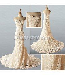 2014 new style sheath sweetheart sleeveless champagne lace wedding dress