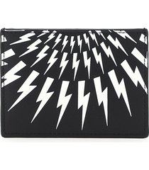 neil barrett fair-isle thunderbolt card holder